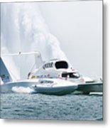 Roostertail From Racing Hydroplanes Boats On The Detroit River For Gold Cup Metal Print