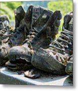 Row Of Old Leather Worn Out Shoes  Metal Print