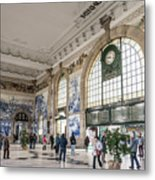 Sao Bento Railway Station Landmark Interior In Porto Portugal Metal Print
