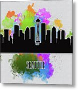 Seattle Skyline Silhouette Metal Print