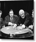 Silent Film Still: Gambling Metal Print