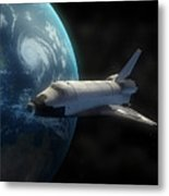 Space Shuttle Backdropped Against Earth Metal Print