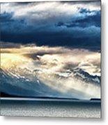 Sunset In Alaskan Fjords In Mud Bay Near Sjagway Metal Print
