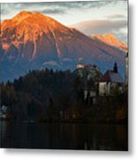 Sunset Over Lake Bled Metal Print