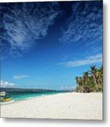 Traditional Filipino Ferry Taxi Tour Boats Puka Beach Boracay Ph Metal Print