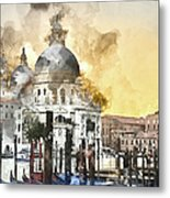 Venice Italy Digital Watercolor On Photograph Metal Print