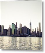 View Of Lower Manhattan Skyscrapers And Huge Sky Metal Print