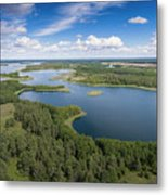 View Of Small Islands On The Lake In Masuria And Podlasie  Metal Print