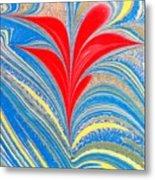 Water Marbling Art, Ebru Metal Print