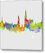 Watercolor Art Print Of The Skyline Of Antwerp In Belgium Metal Print