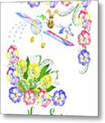 Welcome Spring. Rabbit And Flowers Metal Print