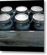 Whiskey Jars In A Crate Metal Print