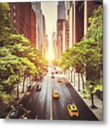 42nd Street In New York During The Day  Metal Print