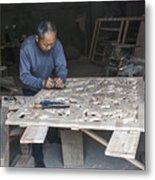 4466- Wood Carver Metal Print