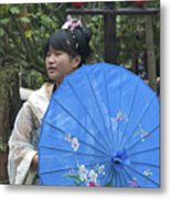 4479- Girl With Umbrella Metal Print