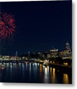 4th Of July Fireworks At Portland Waterfront 2016 Metal Print