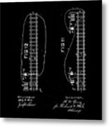 1875 Electric Railway Signal Patent Drawing  Metal Print
