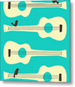 Birds On Guitar Strings Metal Print by Jazzberry Blue