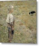 Boy With A Crow Metal Print