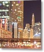 Chicago Illinois Tilt Effect Cityscape At Night Metal Print