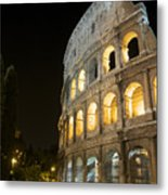 Coliseum Illuminated At Night. Rome Metal Print