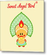 Cute Art - Sweet Angel Bird In A Folk Headdress Holding A Stack Of Pancakes With Butter Wall Art Print Metal Print