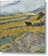Enclosed Field With Ploughman Metal Print