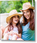 Happy Mother With Daughter Metal Print