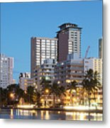 Honolulu Skyline Panorama Metal Print