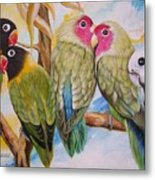 Flygende Lammet     Productions          5 Lovebirds Sitting On A Twig Metal Print
