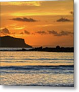 Orange Sunrise Seascape Metal Print
