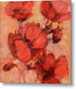 Poppy Flowers Handmade Oil Painting On Canvas Metal Print