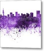 Pretoria Skyline In Watercolor Background Metal Print