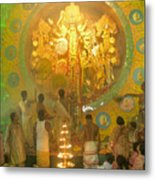 Priest Praying To Goddess Durga Durga Puja Festival Kolkata India Metal Print