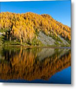 Reflections On Water, Autumn Panorama From Mountain Lake Metal Print