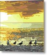 Seagulls At Sunset Metal Print