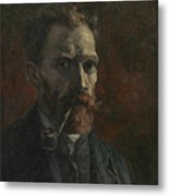 Self-portrait With Pipe Metal Print