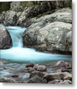 Slow Shutter Photo Of Figarella River At Bonifatu In Corsica Metal Print