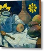 Still Life With Teapot And Fruit Metal Print