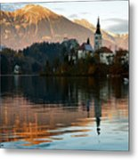 Sunset Over Lake Bled Metal Print