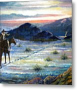 Texas Rangers On His Trail Metal Print