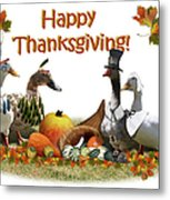Thanksgiving Ducks Metal Print