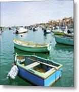 Traditional Boats At Marsaxlokk Harbor In Malta Metal Print