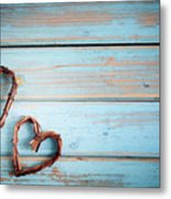 Two Hearts On Wooden Background Metal Print