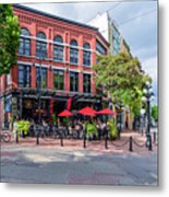 Outdoor Cafe In Gastown, Vancouver, British Columbia, Canada Metal Print