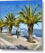Walkway In Nafplio Town Metal Print