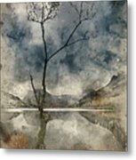 Watercolour Painting Of Beautiful Autumn Fall Landscape Image Of Metal Print