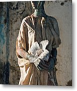 Woman In Bronze Statue Look With Patina Body Paint Metal Print