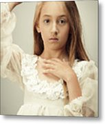 Young Girl Wearing A Crown Metal Print