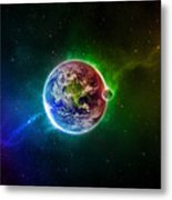 56996 3d Space Scene Colorful Digital Art Earth Metal Print